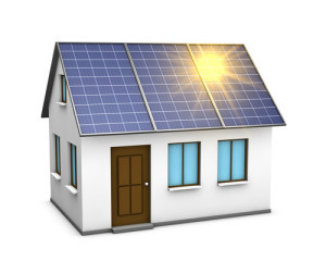 One 3d render of a house with solar panels on the roof and the sunlight reflecting on them